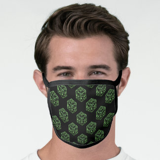 D20 RPG Pattern | Neon Green Fantasy Tabletop Dice Face Mask