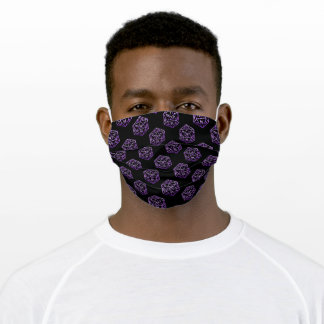 D20 RPG Pattern | Purple Tabletop Role Player Dice Adult Cloth Face Mask
