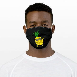Dabbing Yellow Pineapple DAB Funny Dancing Fruit Adult Cloth Face Mask