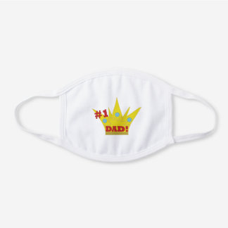 Dad #1 King's Crown Father Daddy White Cotton Face Mask
