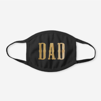 DAD Faux Carved Wood Letters Black Cotton Face Mask