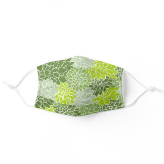 Dahlia Flowers, Petals, Blossoms - Green White Adult Cloth Face Mask