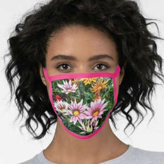 DAISIES: PINK AND WHITE  AND GOLD AND RED FACE MASK
