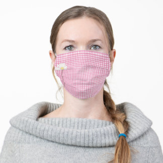 daisy and pink gingham adult cloth face mask