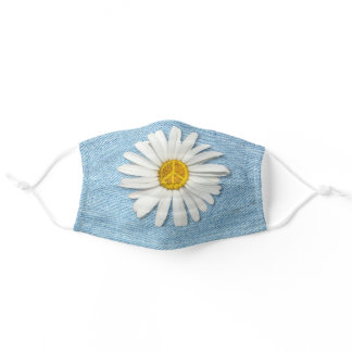 Daisy Flower Inner Peace Symbol Sign - Pale Denim Adult Cloth Face Mask