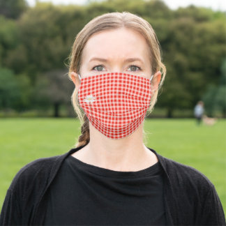 daisy on red quilted gingham adult cloth face mask
