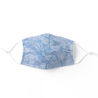 Dallas, Texas, USA Blue Street Map Adult Cloth Face Mask