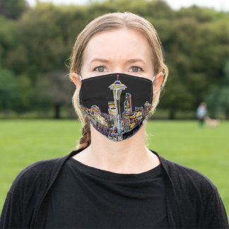 Dark be the Night - Luminous Seattle Skyline Adult Cloth Face Mask