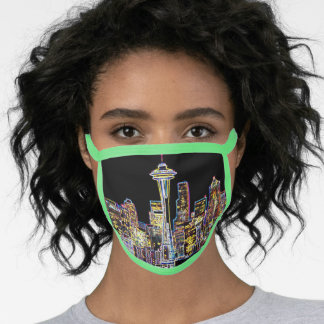 Dark be the Night - Luminous Seattle Skyline Face Mask