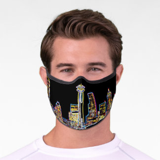 Dark be the Night - Luminous Seattle Skyline Premium Face Mask