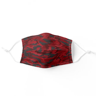 Dark Black and Red Camo Face Mask