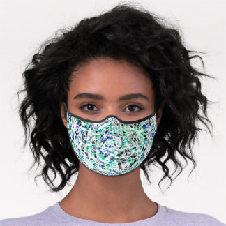 Dark Blue Gray Turquoise Green Abstract Polka Dots Premium Face Mask
