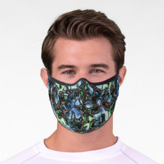 Dark Blue Green Brown Black Alien Waves Pattern Premium Face Mask
