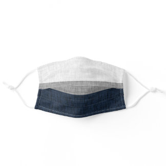 Dark Blue Grey Ash White Simple Stripe Crosshatch Adult Cloth Face Mask