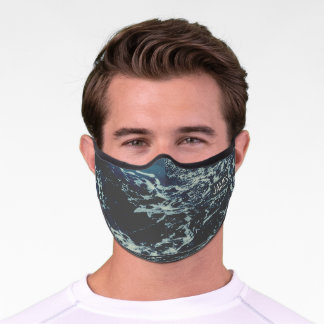 Dark Blue Ocean Pattern Monogrammed Premium Face Mask