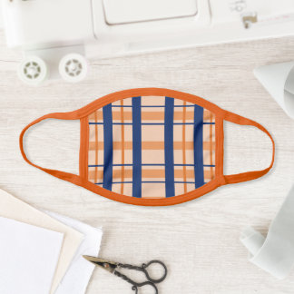 Dark blue orange plaid stripe kids cool face mask