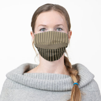 Dark Brown Grey Stripes Adult Cloth Face Mask