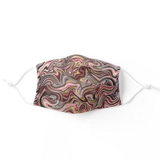 Dark Burgundy Pink Red Taupe Gray Swirls Adult Cloth Face Mask