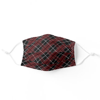Dark Burgundy Red Black White Checks Plaid Pattern Adult Cloth Face Mask