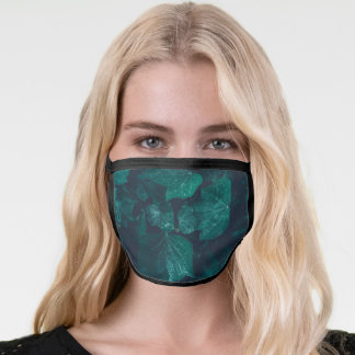 Dark emerald green ivy leaves water drops face mask
