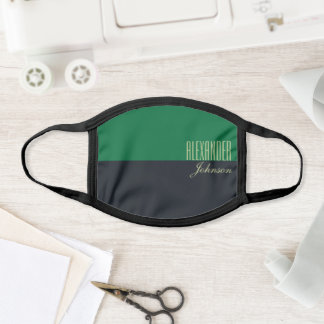 Dark Green and Black Simple Modern Name Face Mask