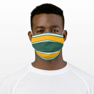 Dark Green Gold and White Sports Stripe Adult Cloth Face Mask