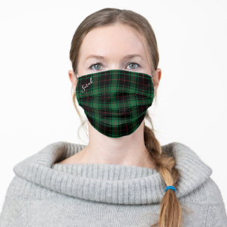 Dark Green Holiday Tartan Pattern with Name Adult Cloth Face Mask