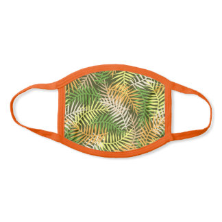 Dark Green Tropical Leaves Palm Tree Leaf Pattern Face Mask