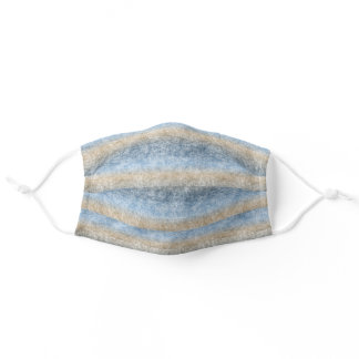 Dark Light Blue Brown Beige Ombre Batik Stripes Adult Cloth Face Mask
