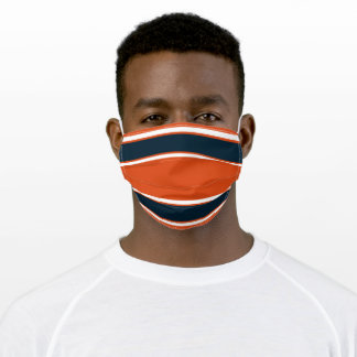 Dark Navy Blue, Orange and White Sports Stripe Adult Cloth Face Mask