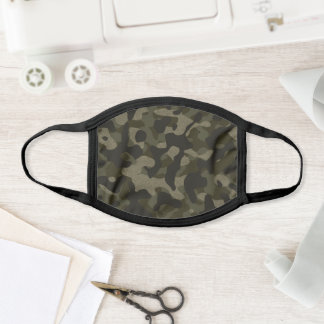 Dark Olive Army Green Stylish Camouflage Pattern Face Mask