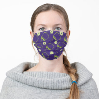 Dark Purple and Green Pickleball pattern Adult Cloth Face Mask