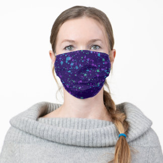 Dark Purple Paint Splatter Design Adult Face Mask