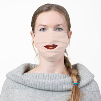 Dark Red Glossy Lips - Red Lipstick - Funny Adult Cloth Face Mask