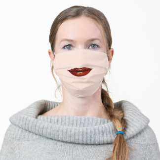 Dark Red Lips - Choose / Add Mask Color - Funny