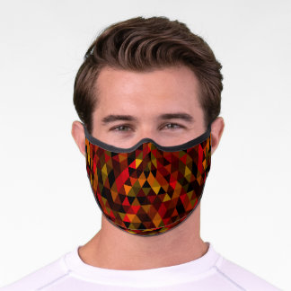Dark Red Orange Brown Black Polygon Art Premium Face Mask