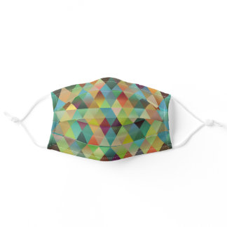 Dark Red Teal Blue Green Orange Yellow Polygon Art Adult Cloth Face Mask
