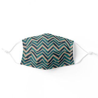 Dark Teal Blue Green Taupe Brown Zigzag Stripes Adult Cloth Face Mask