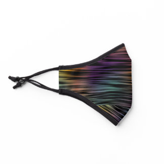 Dark Teal Blue Purple Orange Black Art Stripes Premium Face Mask
