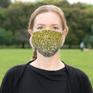 Dark ultimate gray yellow sparkles ombre adult cloth face mask