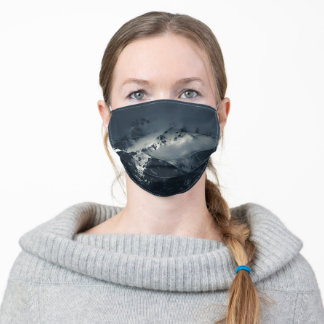 Darkness and clouds over the mountains adult cloth face mask