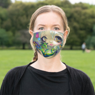 Darling Dragonling IV dragon fairy by Jasmine Adult Cloth Face Mask