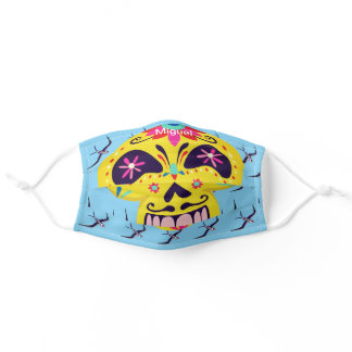 Day of the Dead colorful skull blue Halloween Adult Cloth Face Mask