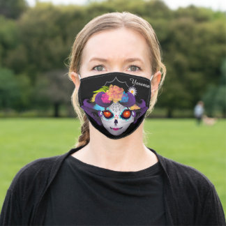 Day of the Dead Sugar Skull Floral Monogram Adult Cloth Face Mask
