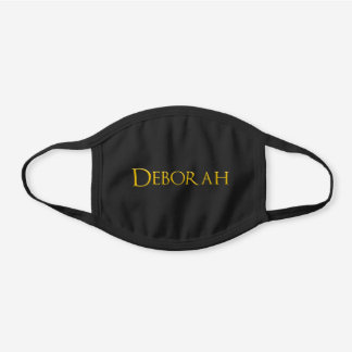 Deborah Woman's Name Black Cotton Face Mask