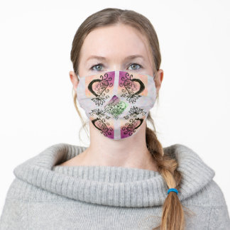 Decorated Hearts Shabby Chic Orange Purple Green Adult Cloth Face Mask