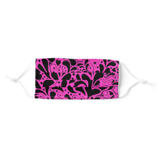 Decorative Hearts and Flourishes Pattern Pink Adult Cloth Face Mask