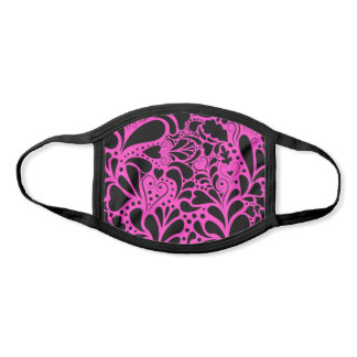 Decorative Hearts and Flourishes Pattern Pink Face Mask