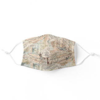 Decoupage Paper Collage of Music Sheets - Adult Cloth Face Mask