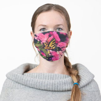 Deep Pink Mums and Swallowtail Butterfly Cloth Face Mask
